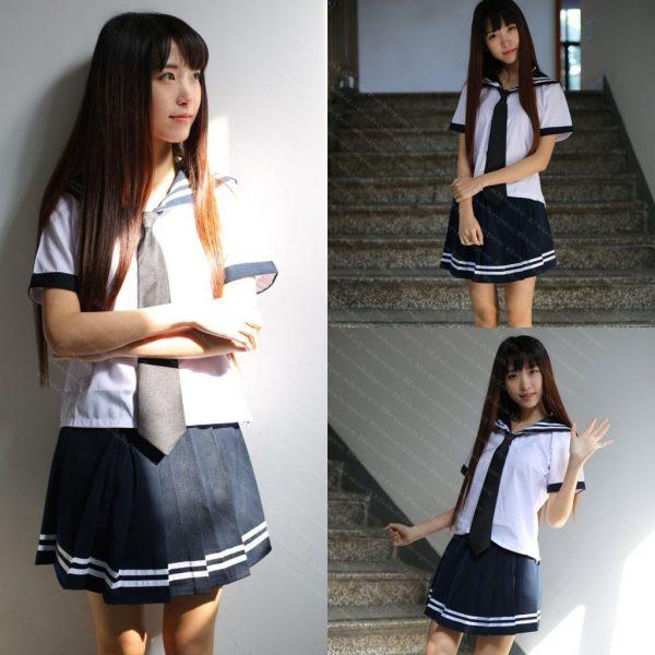 女神的秘密衣櫥 角色扮演 高校 日系 學生服 經典套裝 動漫水手服 學生裝 水手服 清純制服 深藍色 高校生 學生 制服