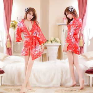 女神的秘密衣櫥 角色扮演 紅櫻花紋 和服 睡袍+內附三點式 情趣角色服 內睡衣 性感內衣  日系角色扮演