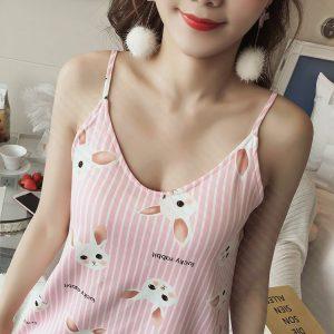 女神的秘密衣櫥 韓式風格 清純甜美 直條紋 居家睡衣 家居服 微性感睡衣 上衣+褲 <現貨> 居家服 少女風