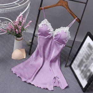 女神的秘密衣櫥 質感系列 仿絲質 性感睡衣 冰絲 甜美歐系浪漫白雕花 細肩帶  情趣睡衣 性感情趣內衣
