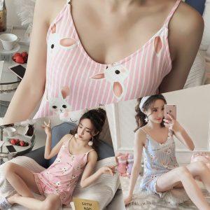 女神的秘密衣櫥 韓式風格 清純甜美 直條紋 居家睡衣 家居服 微性感睡衣 上衣+褲  居家服 少女風