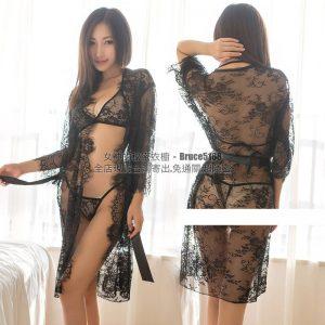 女神的秘密衣櫥 [古典薄紗] 系列 鳶尾花 蕾絲輕薄紗 性感 睡衣 情趣 外罩衫 內外三件套裝 性感罩衫 情趣罩衫