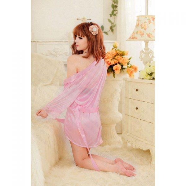 女神的秘密衣櫥 情趣浴袍 性感情趣睡衣 繞頸深V 緞面質感 花瓣邊微透明 和風 情趣性感內睡衣 睡袍組合