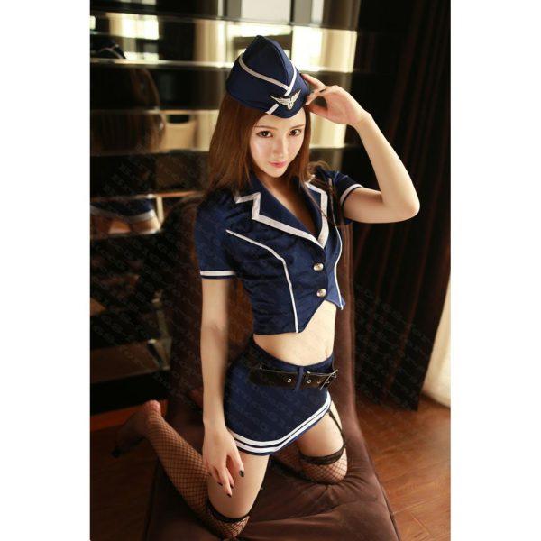 女神的秘密衣櫥 空姐服 正深藍 硬挺質感 性感空姐吊帶套裝 角色扮演 情趣空姐角色服 空姐裝 深藍吊帶空姐組
